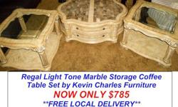 $785 Regal Light Tone Marble Storage Coffee Table Set