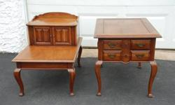 $79 Pair of Solid Cherry Wood Tables ~ End Sofa Chair Lamp