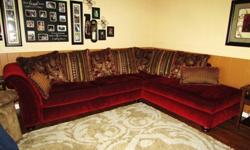 $800 Beautiful Red Sectional Sofa with built-in Chaise