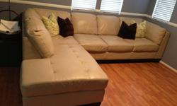 $800 OBO Top Grain Leather Sectional Sofa (cream)