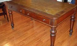 $800 Victorian English Malt Leather Top Partner's Table c.