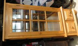 $80 REDUCED oak china cabinet with glass shelves