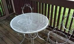 $80 White Wrought Iron Bistro Table Set
