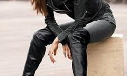 $80 Women's Over the Knee Black Leather Boots - NEW!