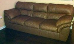 $850 SOFA AND RECLINER matching Genuine brown genuine