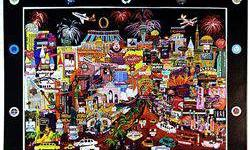 $858 Giclee on Canvas by Roxy titled LAS VEGAS GOLD II