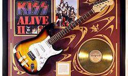 $858 KISS double Giclee with Gold LP and Real Guitar