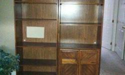 $85 2 bookshelves solid wood w access for TV or stereo