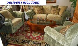 $880 Stunning Three Piece Chenille Tufted Formal Sofa Set