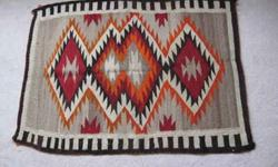 $899 Rare Vintage Navajo Hand Loomed, Dyed Rug