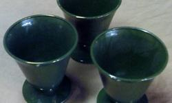 $8 Three Anchor Hocking Green Milk Glass Pedestal Cups