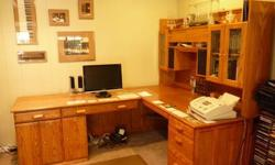 $900 Solid Oak L-shape Desk with hutch