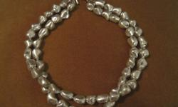 $95 Silver mother of pearl necklace with Swarovski crystals