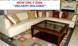 $980 Brand New Three Piece Pearl Leather Sofa Set