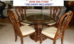 $980 Formal Wood & Marble Glass Top Dining Set