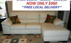 $980 Italsofa Two Piece Cream Leather Sectional Sofa