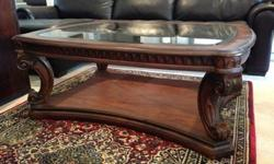 $990 OBO Solid oak coffee table, end table, arm chairs
