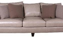 $995 Oatmeal/Beige Leather Sofa - Barely Used 1 month