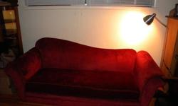 $99 Red Couch 8 Ft. Wide and Deep Very Comfortable