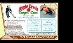 "Apple Creek Carpet Care "" Carpet Cleaning So Good You'll Be"