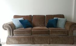 Beautiful Dark Brown Couch, Chair and Ottoman with Light