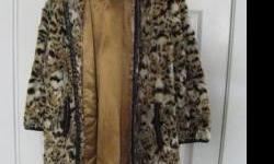 Beautiful Leopard Coat, Fox trim, small medium size $120.00