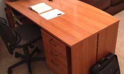 Beautiful Wood Desk and Storage