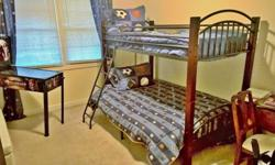 Cherry wood and metal bunk bed