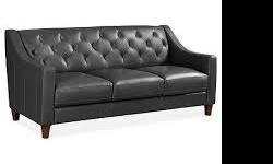 Claudia Leather Sofa Slate/Gray