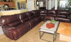 Cognac Leather Dual Power Reclining Sectional