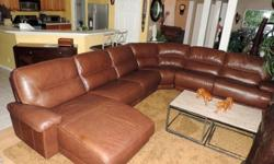 Cognac Leather Triple Reclining Theater Sectional