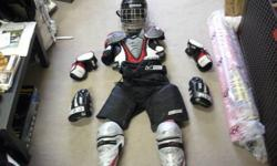 Complete set of youth hockey gear