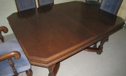 Dining Room Suite - walnut mahogany table with six chairs