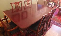 Dining Table and six chairs, polished wood, great condition