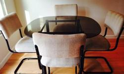 Dining Table Set- Glass Top with 4 matching chairs - $100