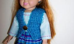 Doll Vest, Skirt, Shirt & Headband for 18 inch doll such as