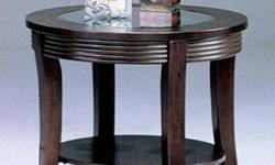 END TABLE WAS 150.00 NOW 39.99 GLASS AND WOOD (KING OF
