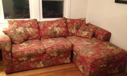 Free Free Red Floral Couch with Chaise Lounge