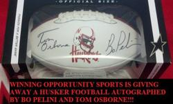 Free Husker Football Autographed by Bo Pelini and Tom