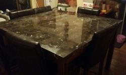 Genuine Real Marble Table Dining Set 7 Piece