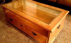 Glass Top White Oak Coffee Table - Good Condition