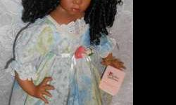 "Handmade Collectible 24"" African American Porcelain Doll by"