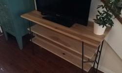 Handmade Poplar and Steel Entertainment Console