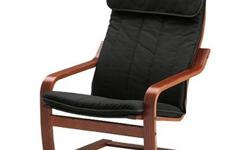 IKEA POANG Chair + Footstool with Alme Dark Brown Cushion