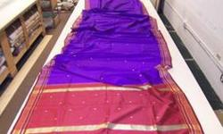 Indian Sari with Gold Embroidery
