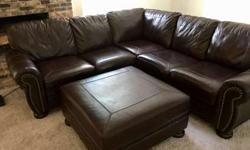 Leather Sectional Sofa with Oversized Ottoman