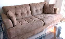 Lightbrown/Tan/Mocha Microsuede Couch (with Ottoman)