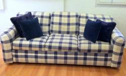 "Like New Condition Navy Blue Sleeper Sofa 80x37"" with"