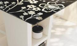 Like New - Cute IKEA Desk - Glass Floral Top and White