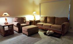 Livingroom Set - Sofa, 2 Chairs, Ottomans, Tables - Must go